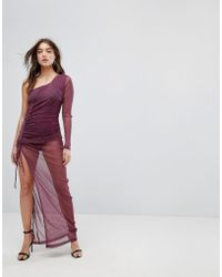 Naanaa - One Shoulder Ruched Sheer Maxi Dress In Glitter - Lyst