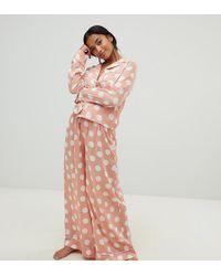 ASOS - Asos Design Tall Polka Dot Pyjama Shirt And Wide Leg Set 100% Modal - Lyst