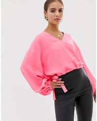 ASOS - Long Sleeve V Neck Top With Elasticated Waist Detail In Neon - Lyst
