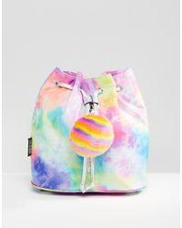 Jaded London - Rainbow Tie Zip Backpack With Pom - Lyst