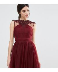 Little Mistress - Floral Lace Applique Mini Skater Dress With Mesh Detail - Lyst
