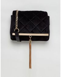 Lipsy - Velvet Quilted Cross Body Bag With Gold Tassle - Lyst