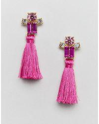 ASOS - Design Tiny Jewel And Tassel Stud Earrings - Lyst