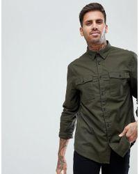 Bershka - Regular Fit Brushed Shirt In Khaki - Lyst