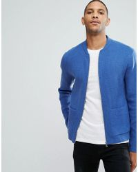 ASOS - Milano Stitch Bomber Jacket In Blue - Lyst