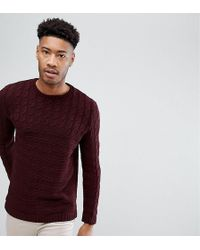 ASOS DESIGN - Asos Tall Cable Knit Yoke Sweater In Burgundy - Lyst