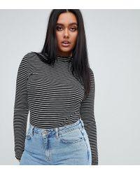 PrettyLittleThing - Basic High Neck Stripe Top - Lyst