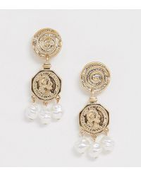 Mango - Coin And Faux Pearl Drop Earrings In Gold - Lyst