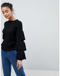 Fashion Union - Cable Knit Jumper With Frill Sleeves - Lyst
