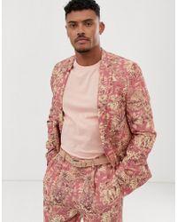 4f991b62b75fd Lyst - ASOS Wedding Skinny Suit Jacket In Navy Floral Linen Look in ...