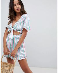 ASOS - Design Playsuit With Cut Out And Tie Detail In Multi Stripe - Lyst