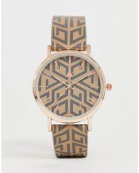 efd7ff29e07e ASOS - Reloj con caja dorada y estampado de monograma de - Lyst