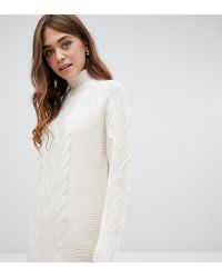 d2930b57d75 Lipsy Cable Knit Bardot Sweater Dress in Pink - Lyst