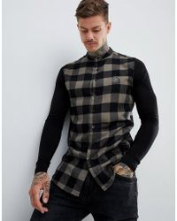 SIKSILK - Grandad Collar Check Shirt In Khaki With Jersey Sleeves - Lyst