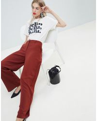 Warehouse - Wide Leg Pant In Rust - Lyst