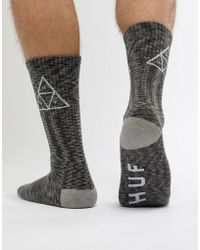 Huf - Triple Triangle Socks In Black Melange - Lyst