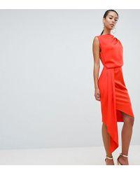 ASOS - Asos Design Tall Satin Drape Midi Dress With Sash Detail - Lyst