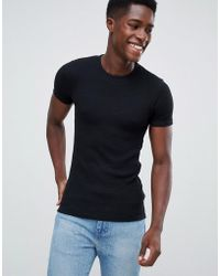 New Look - Muscle Fit Ribbed T-shirt In Black - Lyst