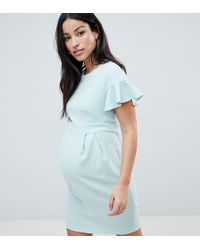 ASOS - Asos Design Maternity Mini wiggle Dress With Fluted Sleeve - Lyst