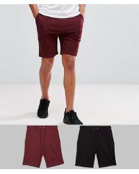 ASOS | Jersey Skinny Shorts 2 Pack Black/burgundy Save | Lyst