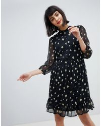 Pieces - Floral Smock Dress With Ruffle Hem - Lyst