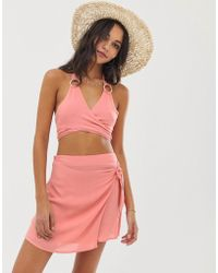 42492ea5a ASOS. Fashion Union - Silvia Wrap Top With Ring Detail And Beach Skirt  Co-ord In
