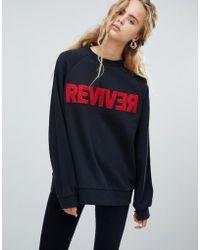 Dr. Denim - Oversized Sweatshirt With Textured Slogan - Lyst