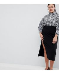 ASOS - Asos Design Curve Midi Skirt With Front Split - Lyst