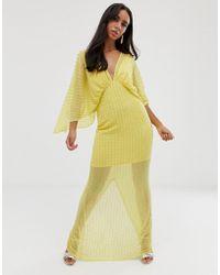 9cad94a444 ASOS Kimono Maxi Dress In Linear Sequin in Black - Lyst