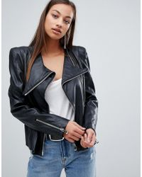 Forever Unique - Leather Jacket With Shoulder Pads - Lyst