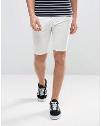 River Island - Skinny Denim Shorts In White - Lyst