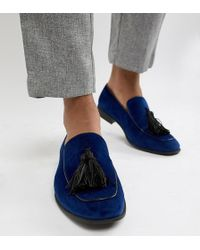 ASOS - Wide Fit Loafers In Navy Velvet With Tassel Detail - Lyst
