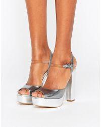 Terry De Havilland - Coco Silver Leather Platform Heeled Sandals - Lyst