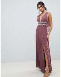 ASOS - Maxi Dress In Pleat With Embellished Tape Detail - Lyst