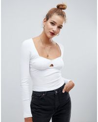 ASOS - Long Sleeve Top In Rib With Cup Detail - Lyst