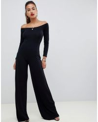 53715fe7a7d Lyst - ASOS Bodyfit Jumpsuit With Off Shoulder Ruffle in Black