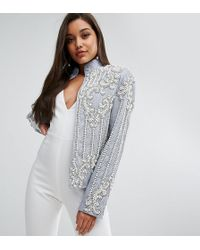 A Star Is Born - Chambray Trophy Jacket With Faux Pearl Embellishment - Lyst