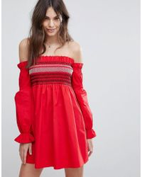 1eda0664828 Fashion Union - Shirred Off Shoulder Dress With Balloon Sleeves - Lyst