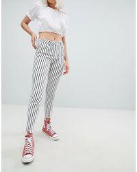 Pull&Bear - Striped Freyed Hem Skinny Jean In Stripe - Lyst