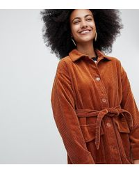 Monki - Belted Cord Jacket In Rust - Lyst