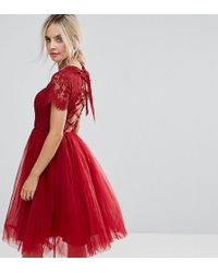 Chi Chi London - Midi Tulle Dress With Lace Up Back - Lyst