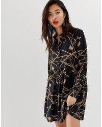 Stradivarius - Shirt Dress In Chain Print - Lyst