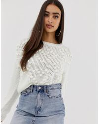 Missguided - Heart Pom Pom Jumper In Cream - Lyst