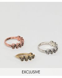 Reclaimed (vintage) - Inspired Ring Pack With Skulls And Mixed Metals Exclusive At Asos - Lyst