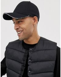 262214db4e0bb4 ASOS - Baseball Cap In Black With Peak Detail - Lyst