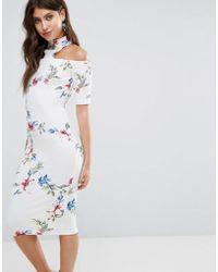 AX Paris - Cream T-bar Floral Printed Midi Dress - Lyst