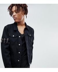 29e6d3fff3b Sixth June - Denim Jacket With Safety Pins In Black Exclusive To Asos - Lyst