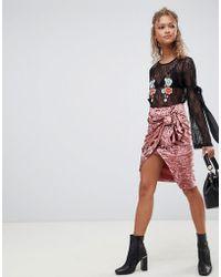 Glamorous - Draped Velvet Skirt - Lyst