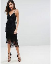 ASOS - Fringe Mesh Strappy Midi Bodycon Dress - Lyst
