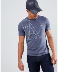Emporio Armani - Large Graphic Logo T-shirt In Steel Blue - Lyst